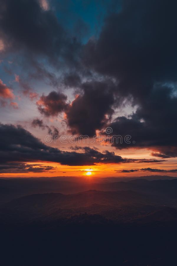Sunset Mountain view in the evening travel. Sunset royalty free stock image