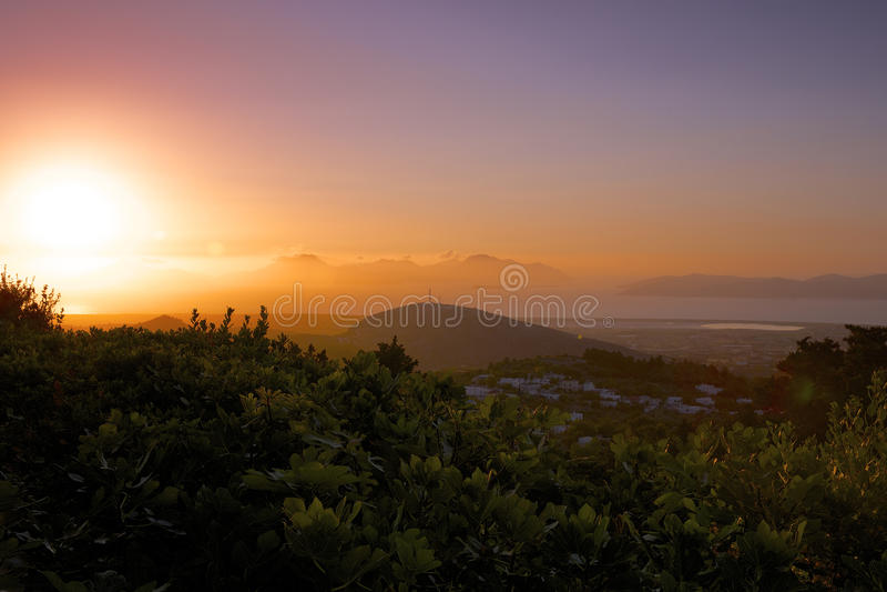 Sunset on the mountain. Village of Zia, Kos Island, Greece royalty free stock photo