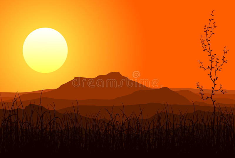 Sunset in mountains royalty free illustration