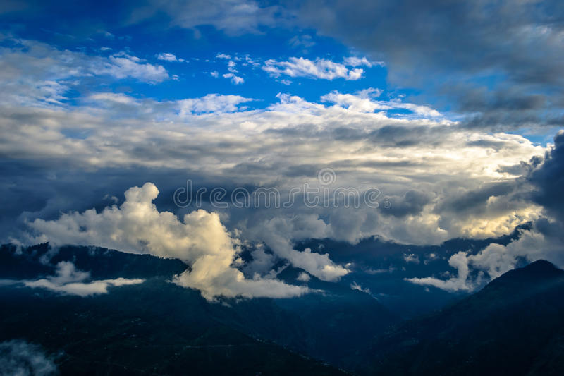 Sunset in mountains. Sunset in Bijli Mahadev mountain Kullu, India royalty free stock image