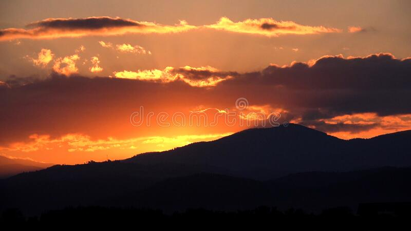 Sunset in Mountains, Dramatic Sundown Landscape, Sunrise View in Nature.  stock image