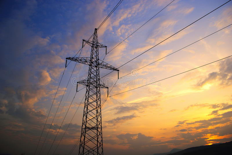 Download Sunset In Mountains And Electrified Stock Photo - Image: 12810940