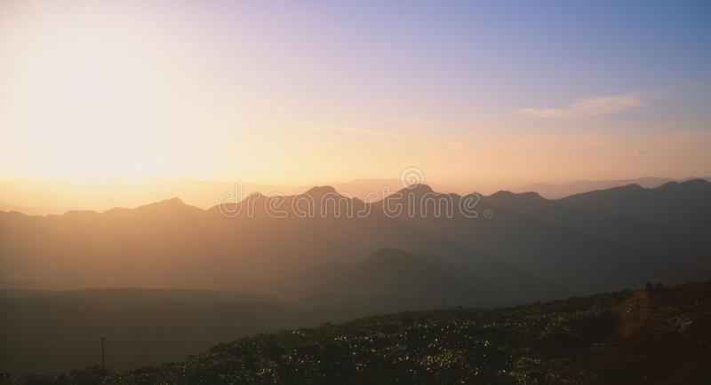 Sunset on the mountains stock images