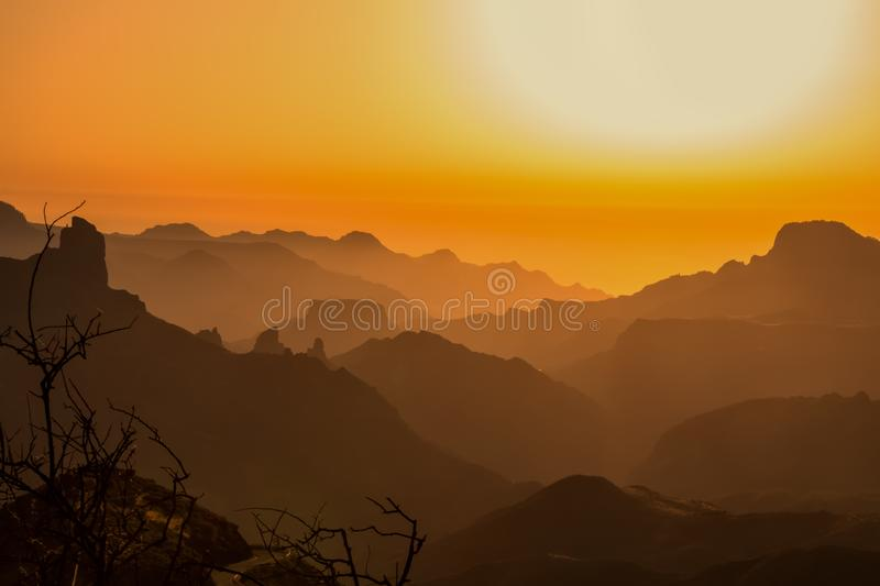 Sunset in the mountains of gran canaria royalty free stock photos