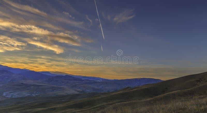 Sunset in the mountains Khizi.Azerbaijan royalty free stock photo