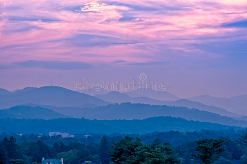 Sunset at the mountains landscape royalty free stock photo