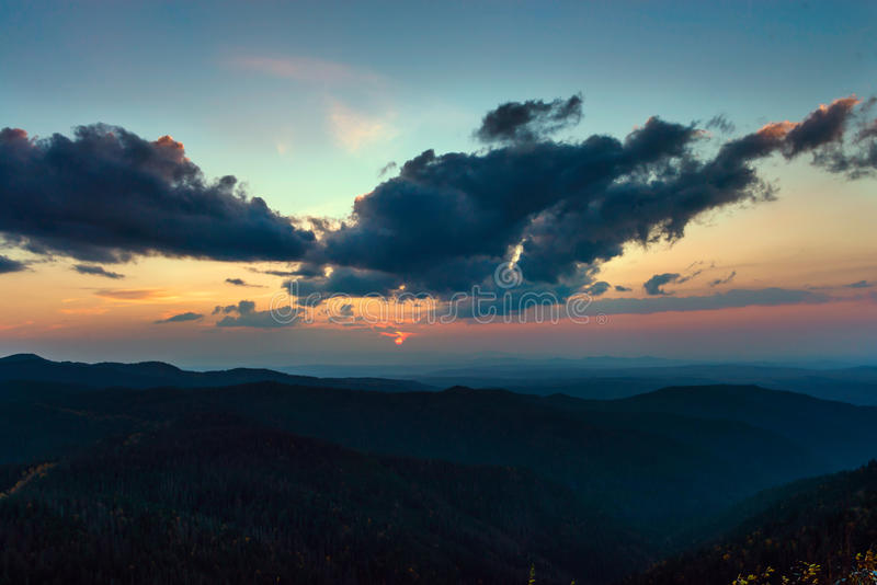 Sunset mountains Miao Chan. Russian Far East royalty free stock photography