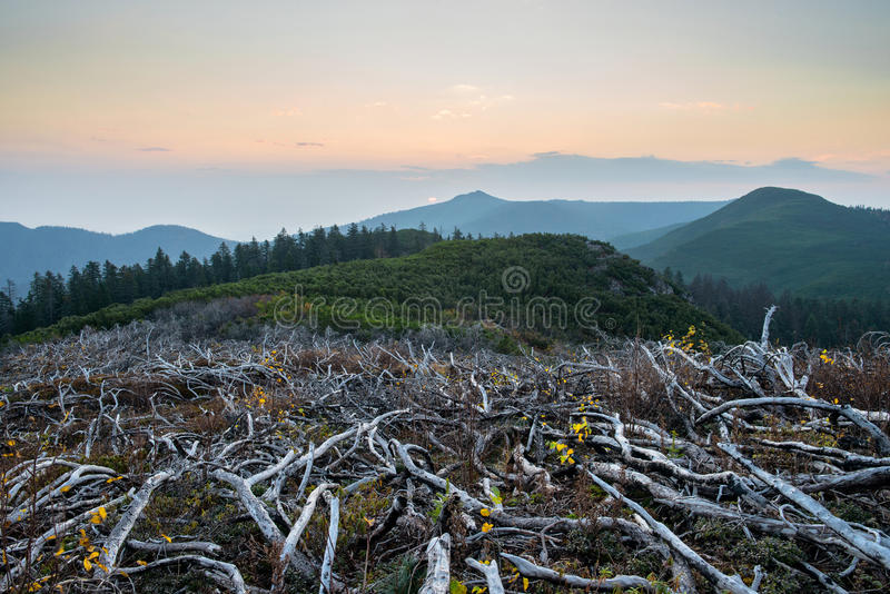 Sunset mountains Miao Chan. Russian Far East royalty free stock images
