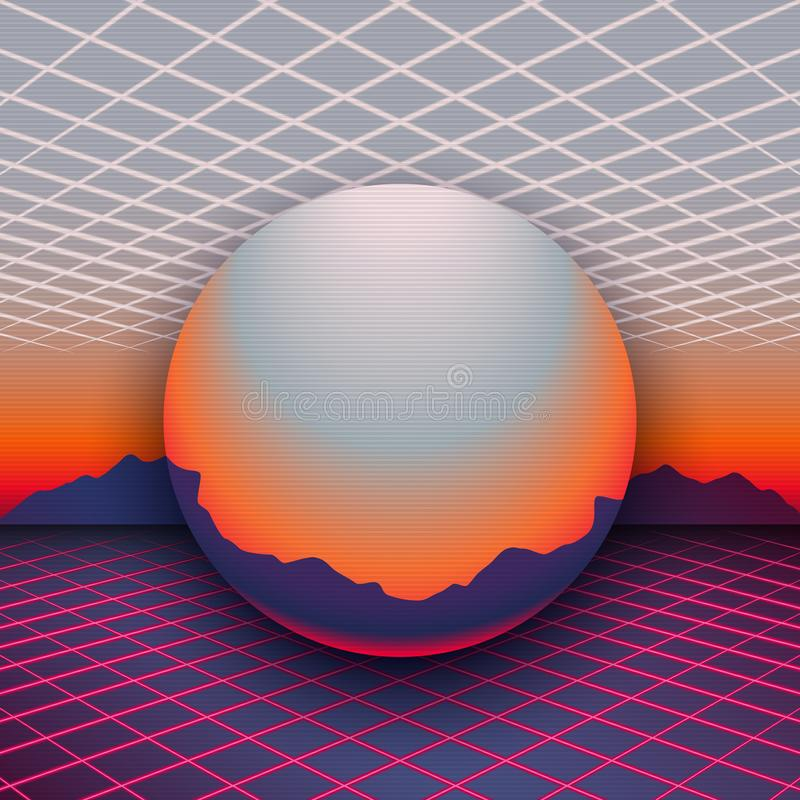 Free Sunset, Mountains On The Horizon And Chrome Globe Between Laser Grids At Front Stock Photography - 164475652