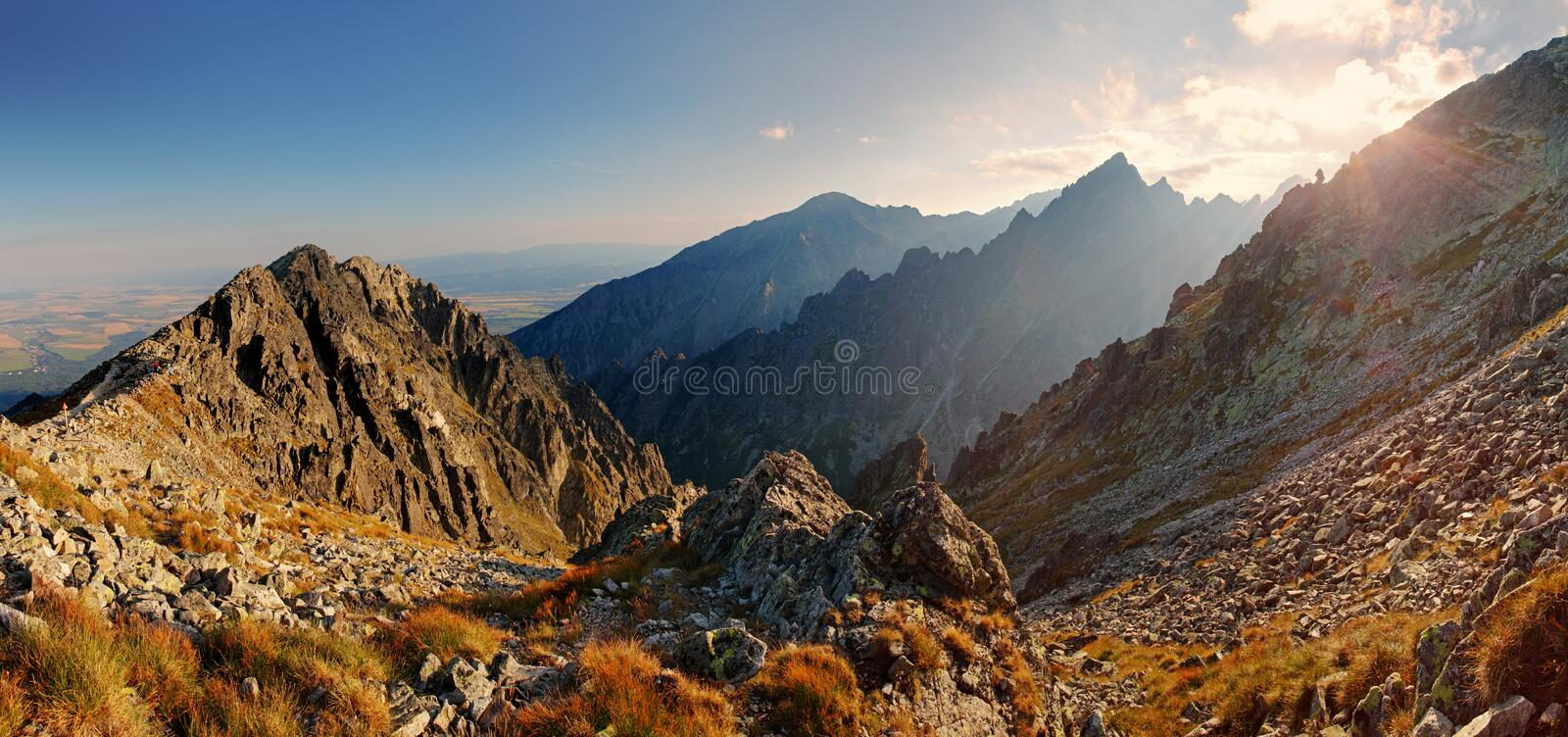Sunset in mountains view from Lomnicke sedlo in High Tatras royalty free stock image