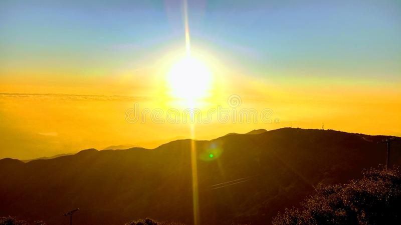 Sunset on the mountian. royalty free stock images