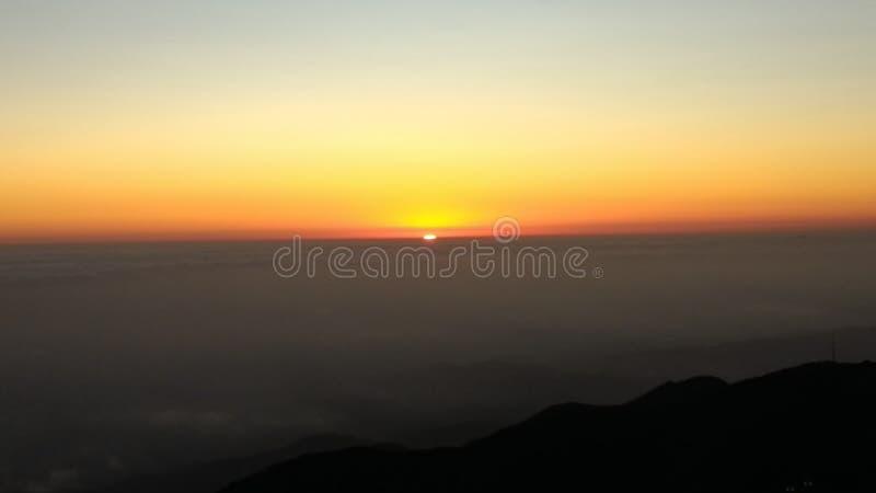 Sunset on the mountian. stock photos
