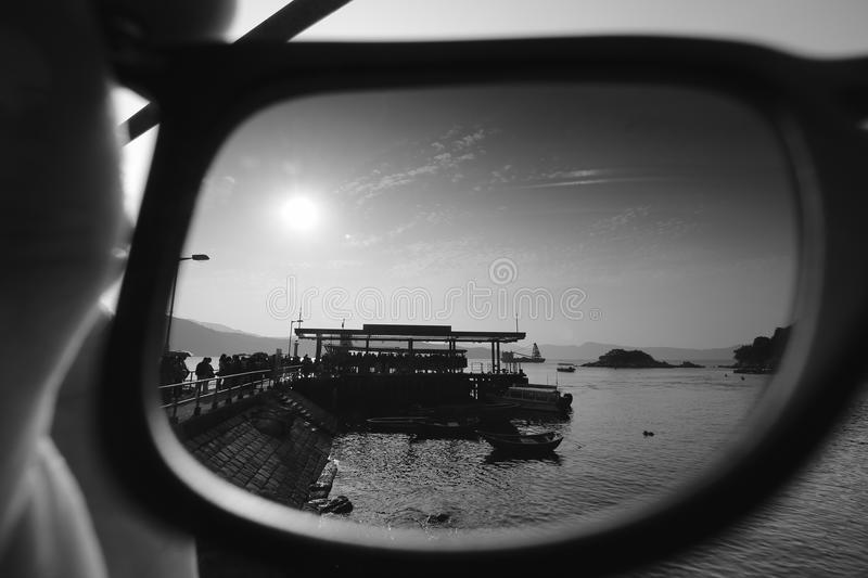 The sunset in my eye black and white. Using my sunglasses as a CPL filter taking the sunset royalty free stock photography