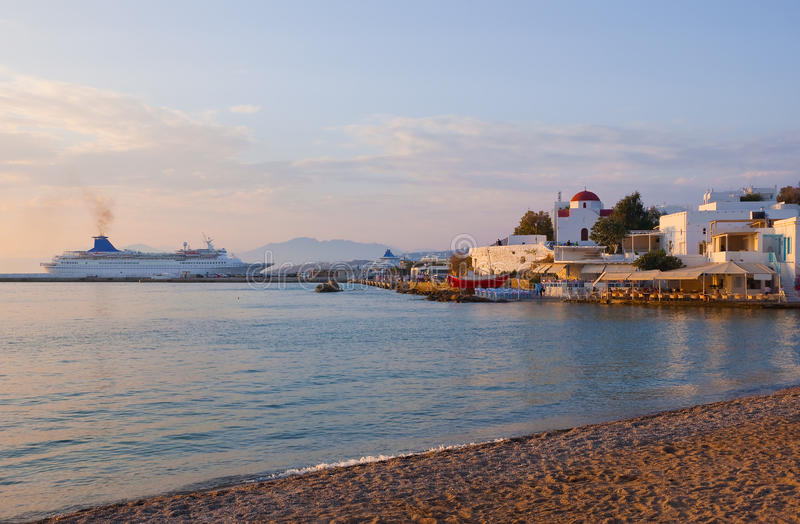 Download Sunset on Mykonos Island stock photo. Image of home, church - 16346122