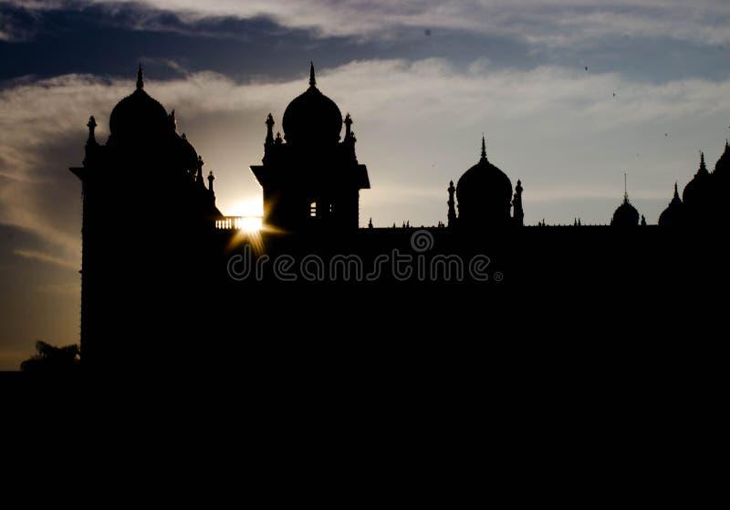 Sunset at Mysore palace, Karnataka , India. stock photo