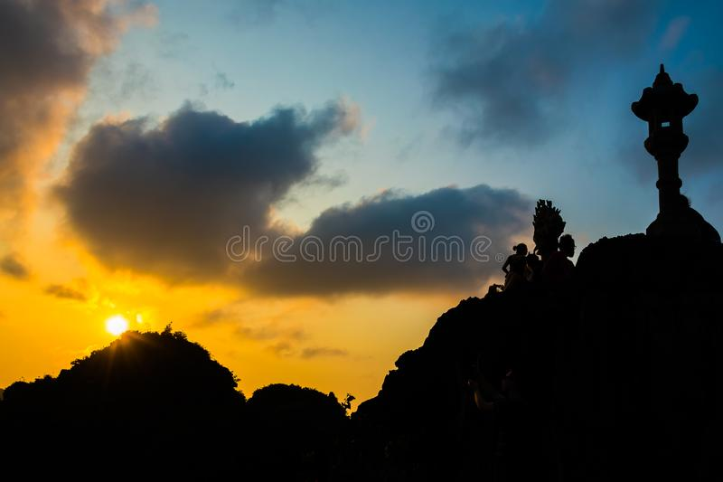 Sunset mysterious dragon of the Hang Mua Cave temple view point in Ninh Binh, Vietnam. Sunset mysterious dragon of the Hang Mua Cave temple view point in Ninh stock photo