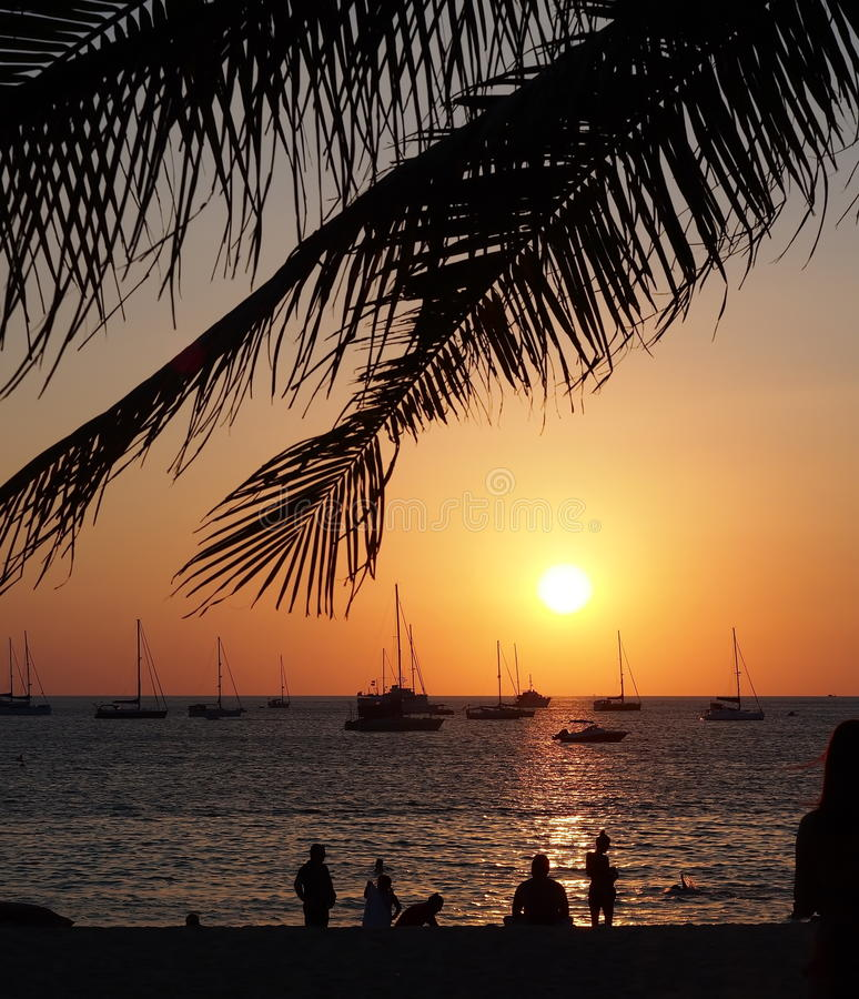 Sunset at Nai Harn beach Phuket stock image