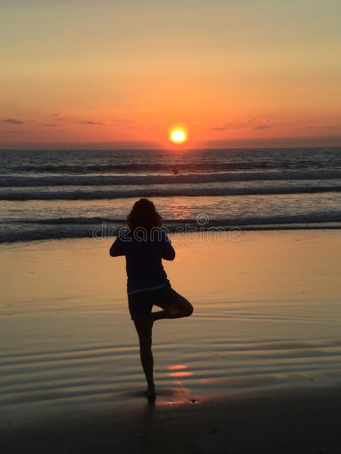 Sunset namaste royalty free stock photos