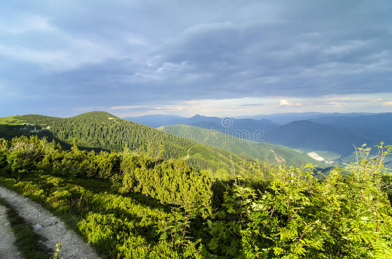 Sunset in National park Mala Fatra royalty free stock image