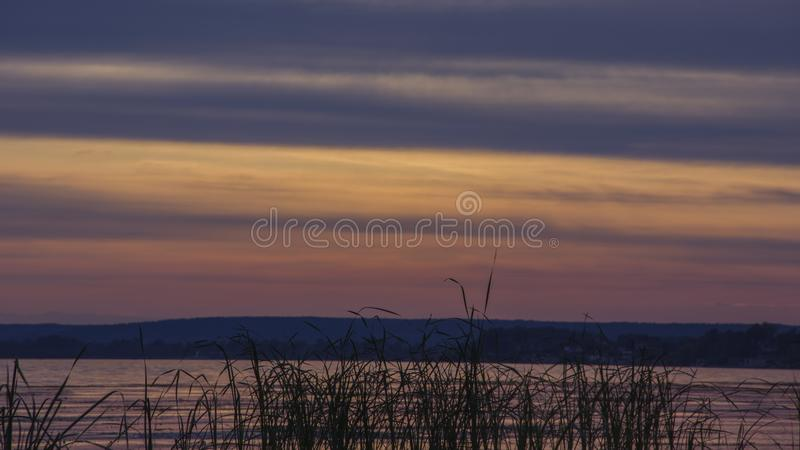 It is sunset in nature royalty free stock photography