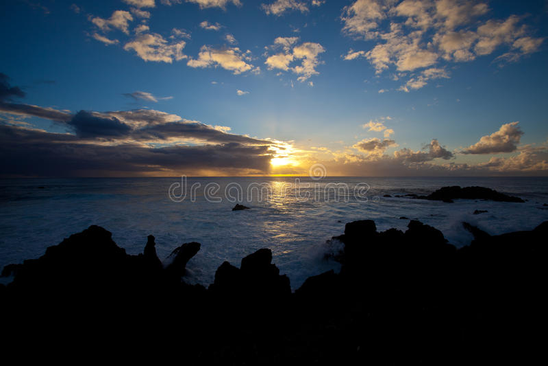 Sunset near Eastern Island royalty free stock image