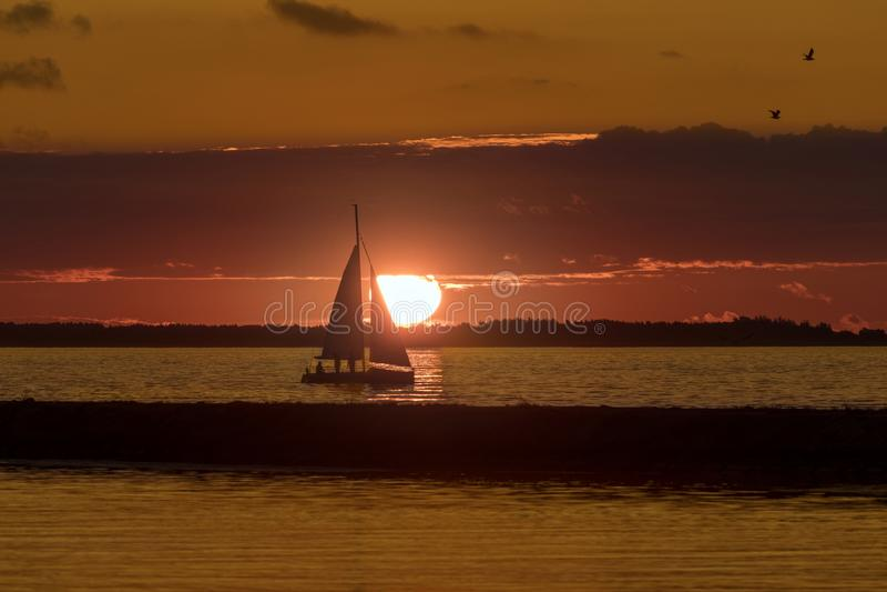 Sunset near Pirita Marina - Tallinn - Estonia stock photo