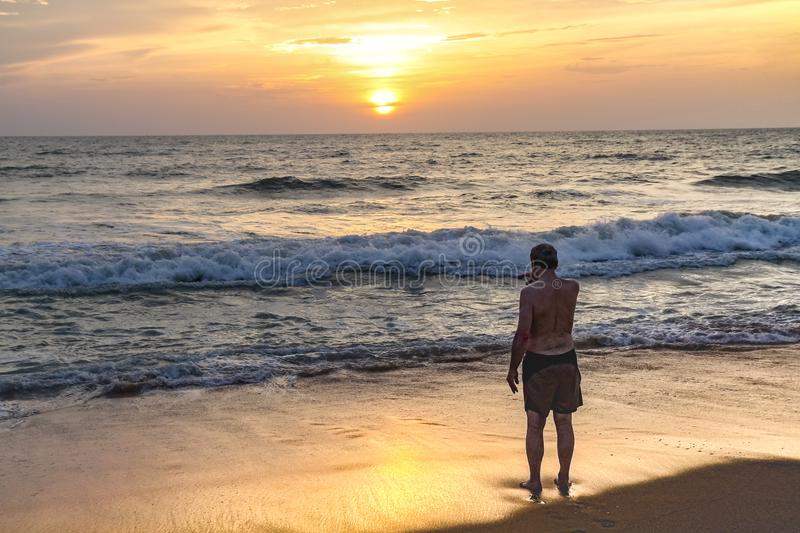 Sunset at Negumbo , Sri Lanka. Negumbo is a charming town near Indian ocean at Sri Lanka. Kilometres of sand beaches, hot water and strong waves make this place royalty free stock image
