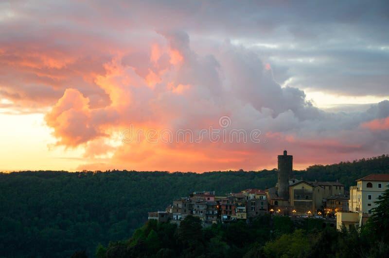 Sunset in Nemi stock photo