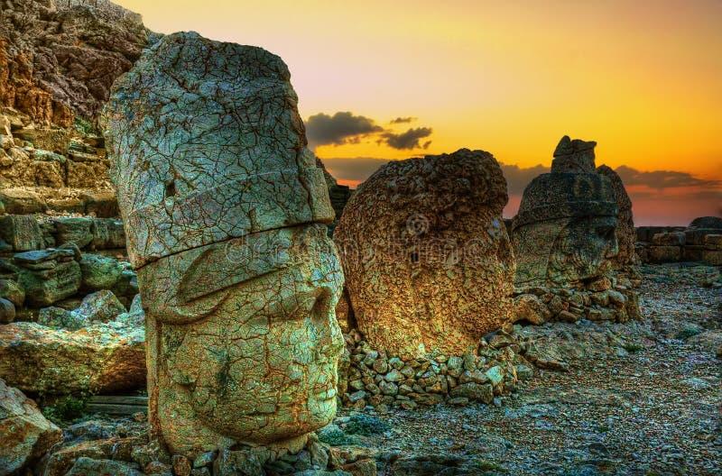 Sunset from Nemrut Mountain, Komagene Kingdom, Adıyaman, Turkey. Nemrut or Nemrud (Turkish: Nemrut Dağı ; Armenian royalty free stock photos