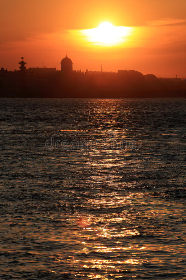 Sunset on the Neva River in St. Petersburg, Russia stock photography