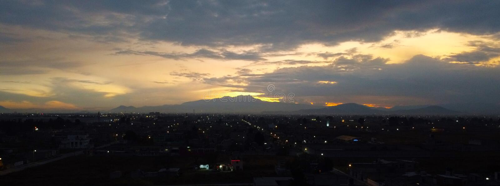 Sunset in the nevado de toluca volcano royalty free stock images