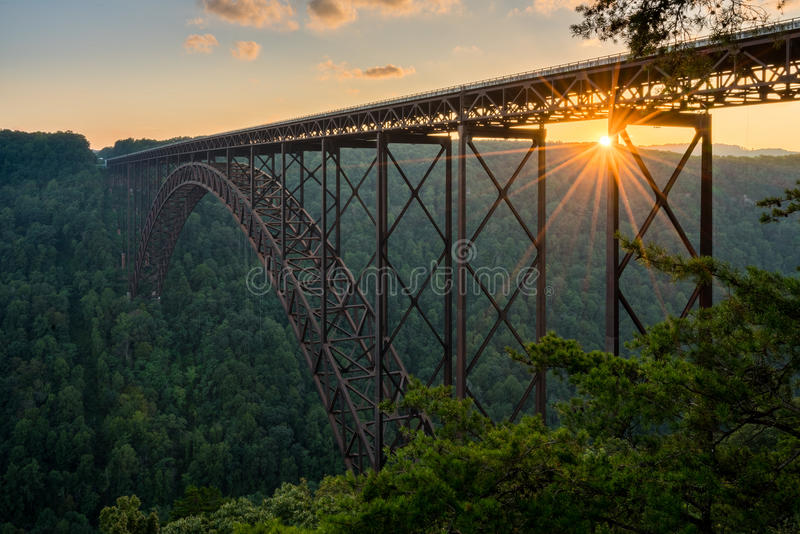 Sunset at the New River Gorge Bridge in West Virginia. Setting sun behind the girders of the high arched New River Gorge bridge in West Virginia royalty free stock images