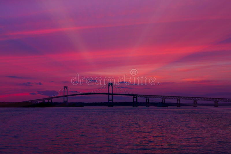 Sunset on the Newport Bridge, Newport, RI. royalty free stock images