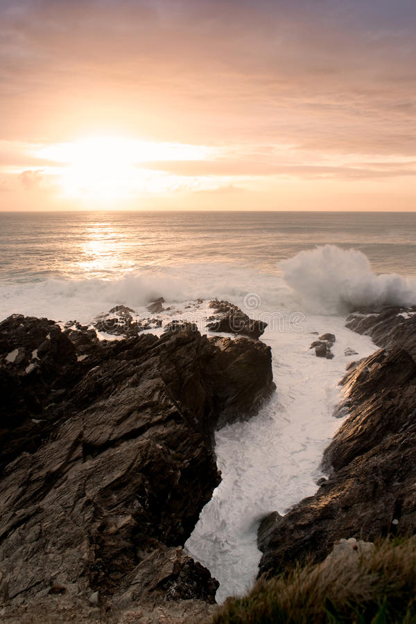 Sunset in Newquay, Cornwall royalty free stock image