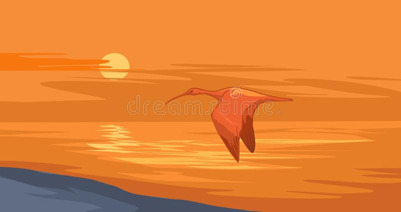 Sunset on the Nile. Nile sunset. Landscape illustration of an ibis flying over a river in fading twilight stock illustration