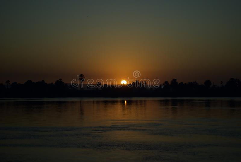 Sunset in The Nile River, Egypt royalty free stock photo