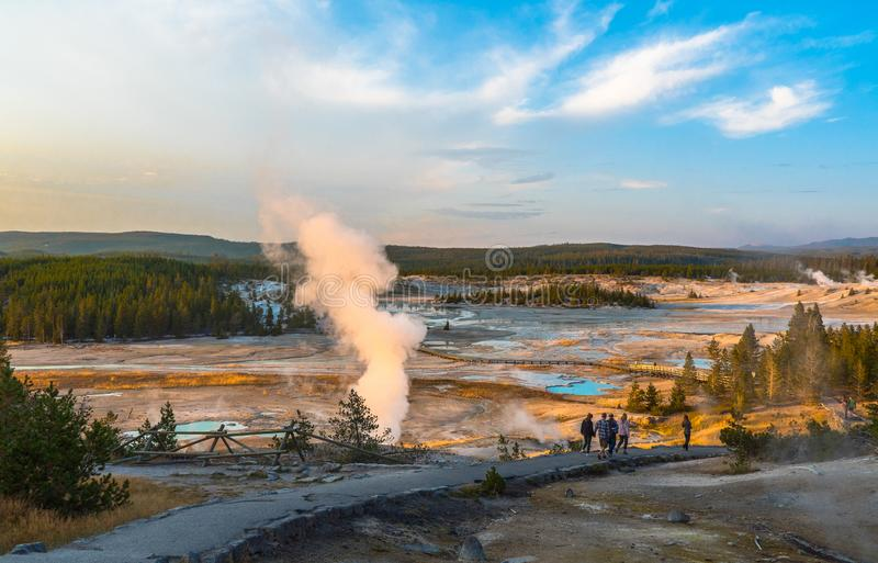 Yellowstone National Park, WY, USA. Sunset at Norris Pocelain Basin, Yellowstone National Park, WY, USA royalty free stock images