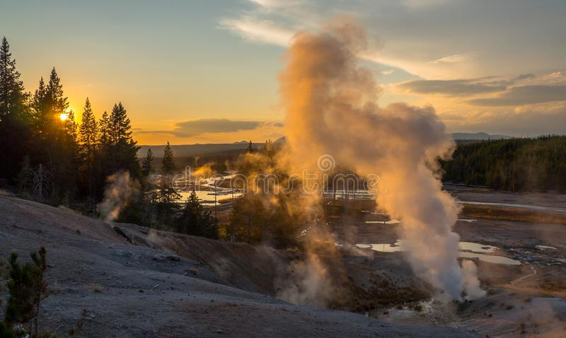 Sunset at Yellowstone National Park, WY, USA. Sunset at Norris Pocelain Basin, Yellowstone National Park, WY, USA royalty free stock images