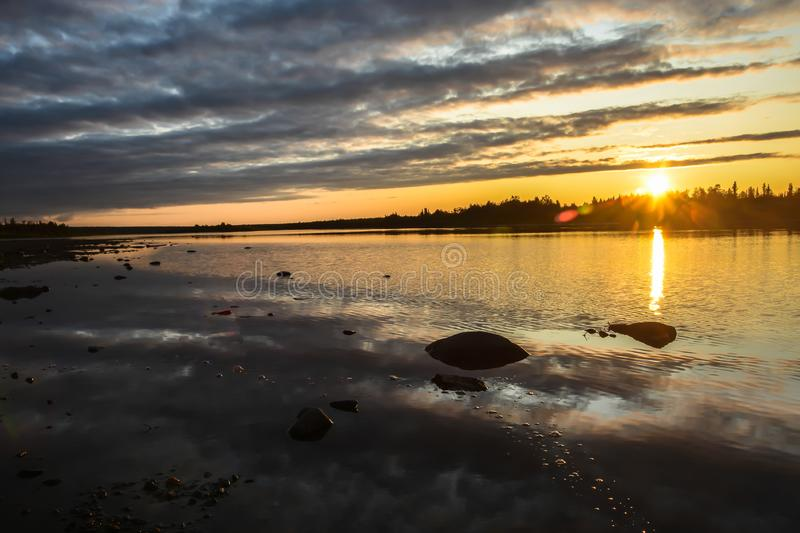 Sunset on the North river stock photography