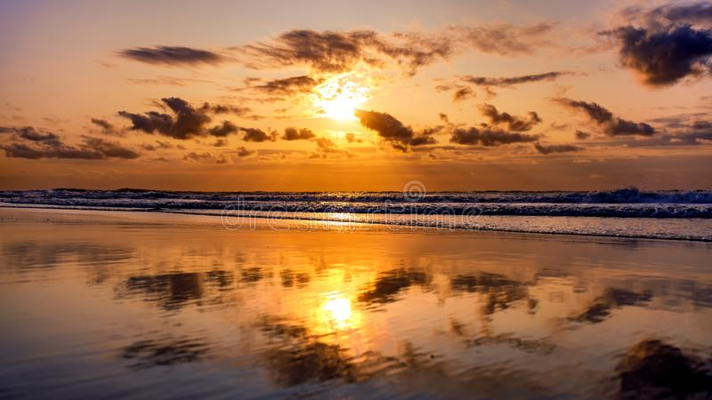 Sunset at North Sea stock image
