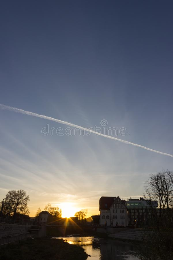 sunset on a november evening in a historical city royalty free stock images