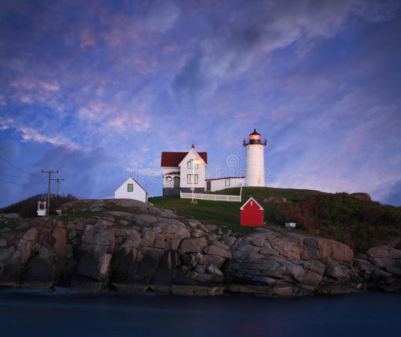 Sunset At The Nubble Light stock images