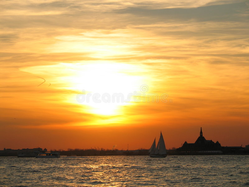 Sunset in NYC. A sunset at the tip of Manhattan royalty free stock image