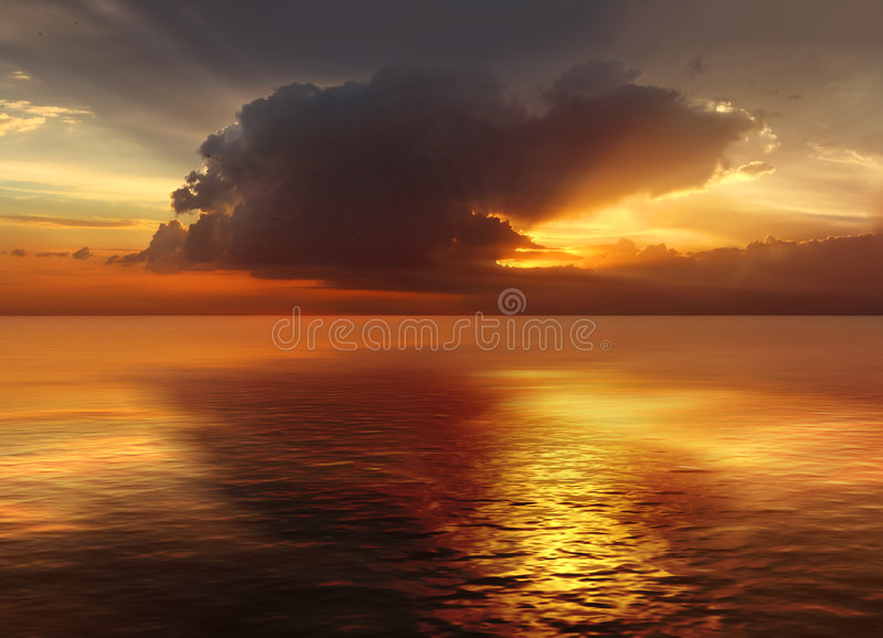 Sunset in Ocean stock images