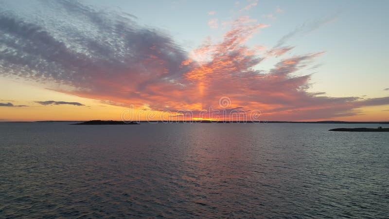Sunset at ocean royalty free stock photo