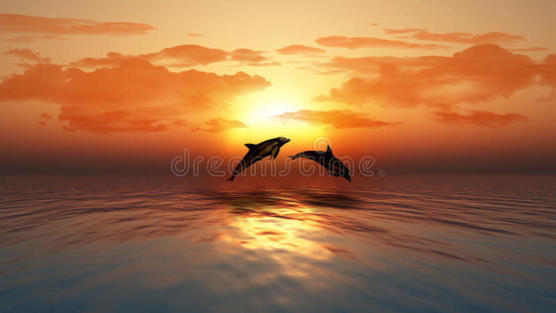 Hot Un Stock >> Sunset Ocean With Dolphins Jumping Stock Illustration - Illustration of dolphin, ocean: 40149536