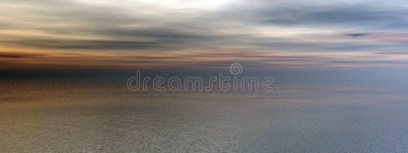Sunset ocean panorama. Computer generated illustration stock illustration