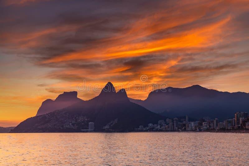 Sunset on the ocean at Rio de Janeiro, Ipanema beach. Brazil.  stock photography