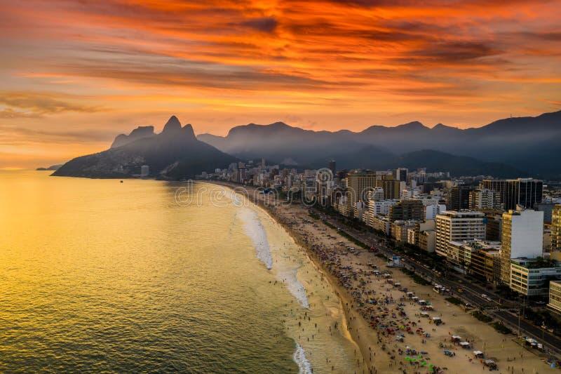 Sunset on the ocean at Rio de Janeiro, Ipanema beach. Brazil. Aerial view stock photo