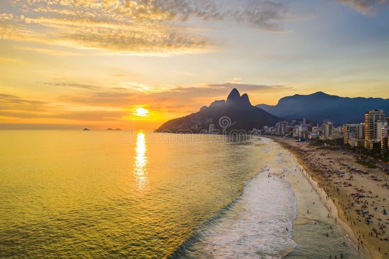 Sunset on the ocean at Rio de Janeiro, Ipanema beach. Brazil. Aerial view royalty free stock photo